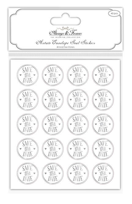Always & Forever - Foiled Acetate Stickers - Save the Date