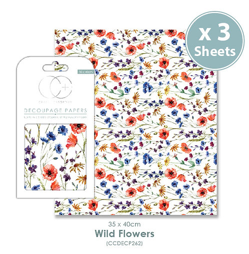 Wild Flowers - Decoupage Papers Set