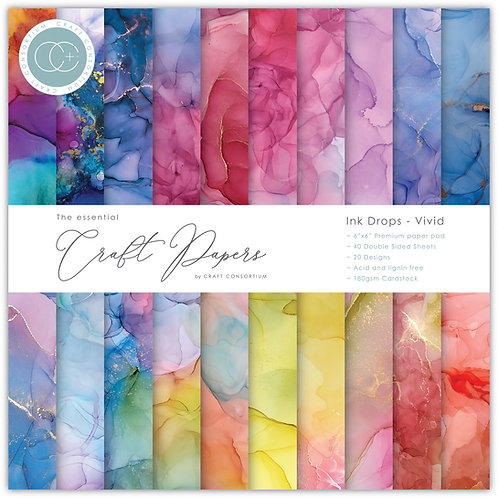 The Essential Craft Papers - 6x6 - Ink Drops - Vivid