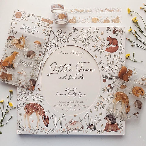 Little Fawn & Friends - 12x12 Premium gummed paper pad