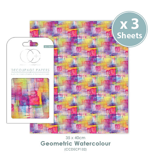 Geometric Watercolour - Decoupage Papers Set