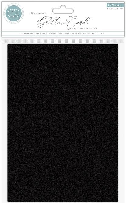 The Essential Glitter Card - Non Shedding A4 Glitter Card - Black