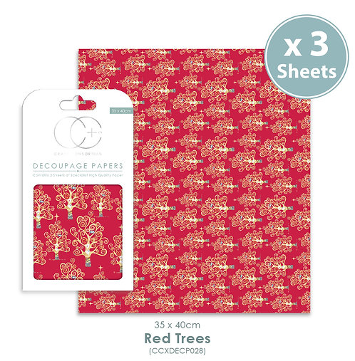 Red Trees - Decoupage Papers Set