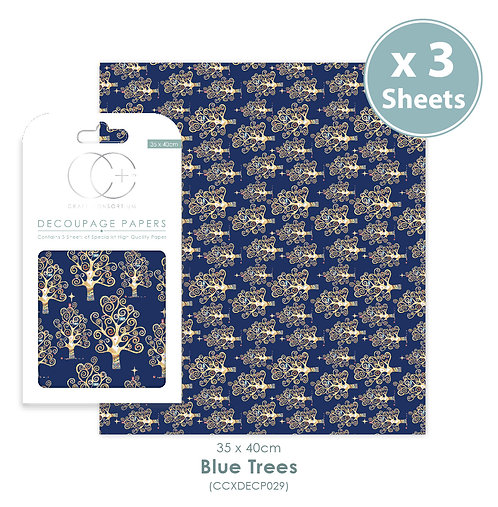 Blue Trees - Decoupage Papers Set