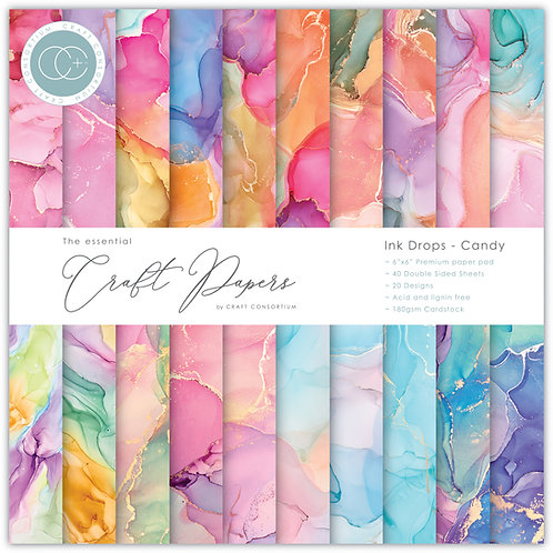 The Essential Craft Papers - 6x6 - Ink Drops - Candy
