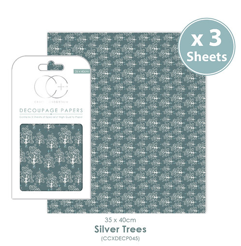 Silver Trees - Decoupage Papers Set