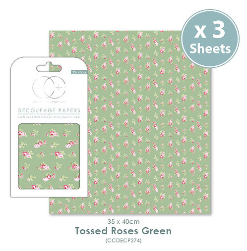 Tossed Roses Green - Decoupage Papers Set