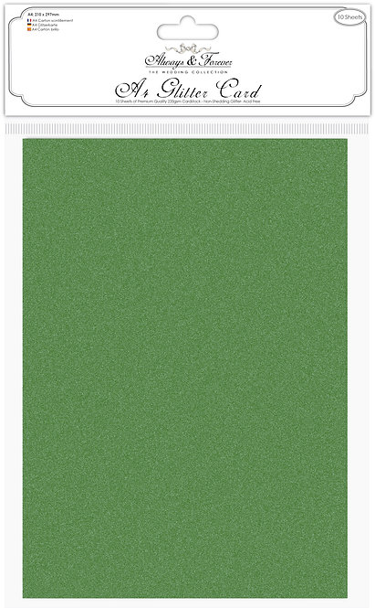 Always & Forever - Non Shedding A4 Glitter Card - Forest Green