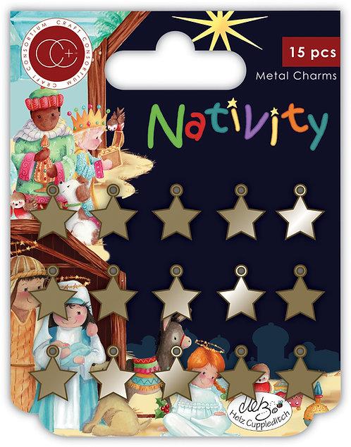 Nativity - Metal Star Charms