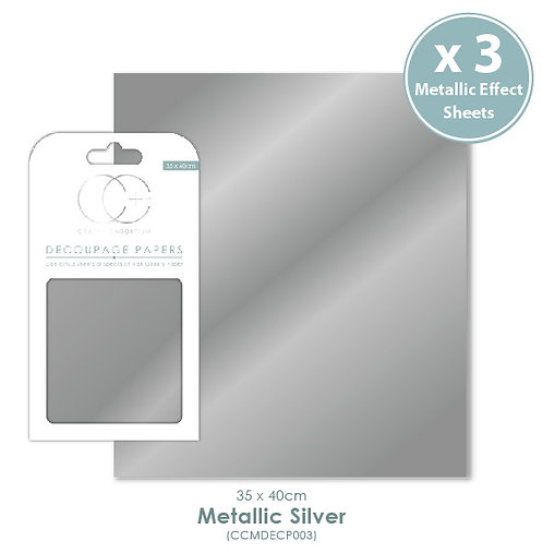 Metallic Silver - Decoupage Papers Set