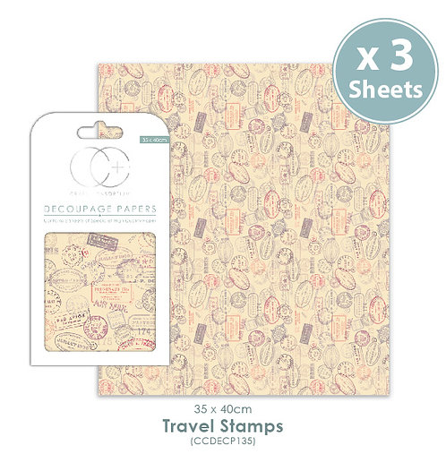 Travel Stamps - Decoupage Papers Set