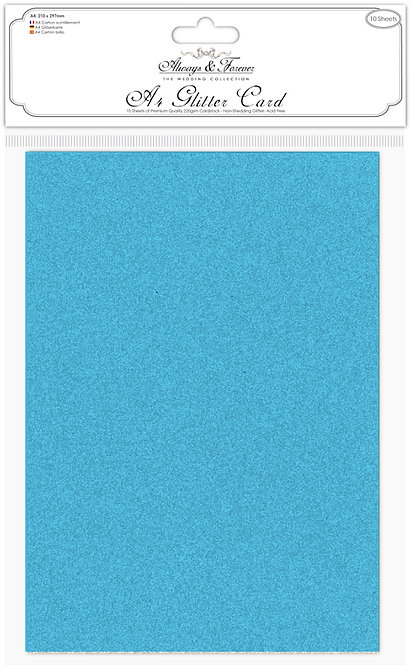 Always & Forever - Non Shedding A4 Glitter Card - Turquoise Blue