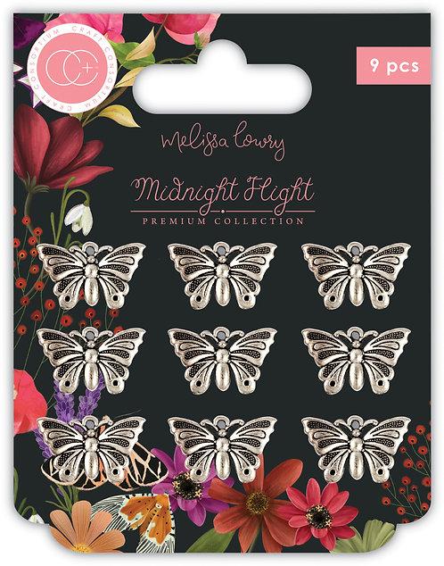 Midnight Flight - Metal Charms - Moths
