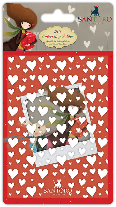 Santoro - Kori Kumi A6 Embossing Folder - Hearts