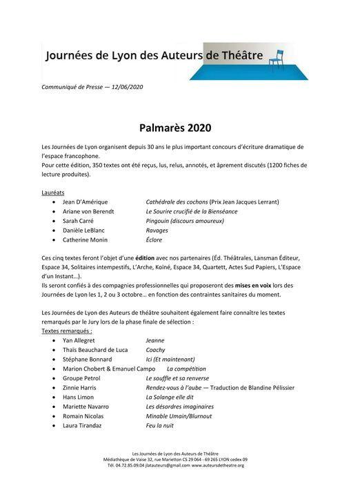 La compétition, texte remarqué par le jury des Journées de Lyon des Auteurs de Théâtre