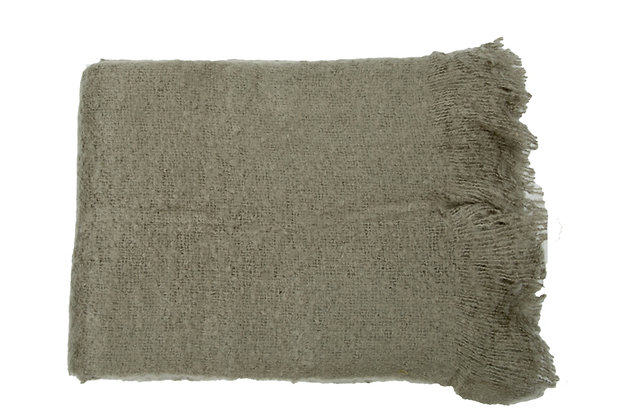 Knitted throw olive grey