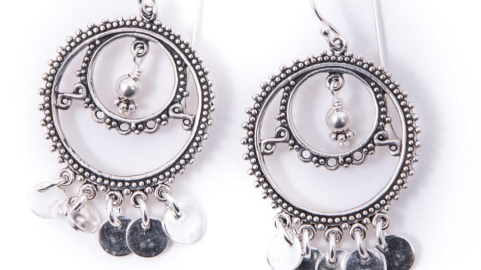 mini disc sterling silver earrings