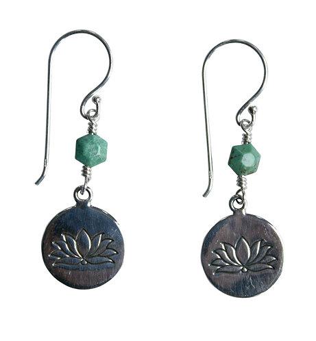 lotus disc sterling silver earrings