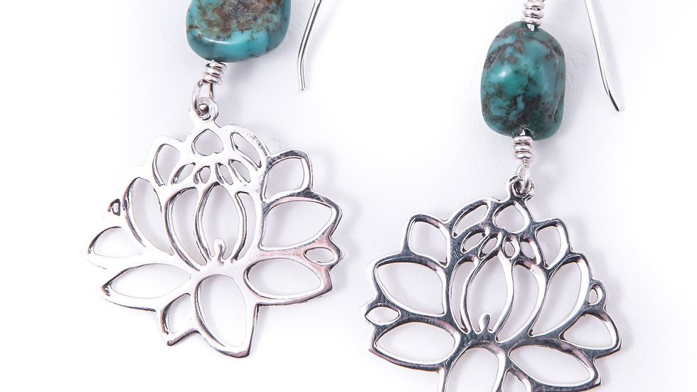 lotus silhouette frame and turquoise