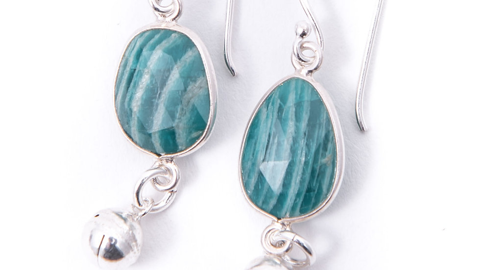 faceted amazonite gemstone earrings