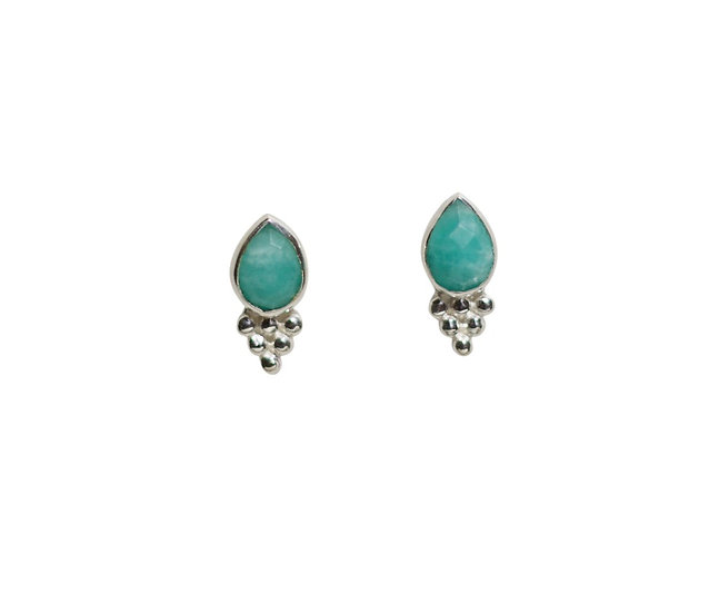 sterlings silver studs with faceted teardrop amazonite gemstone