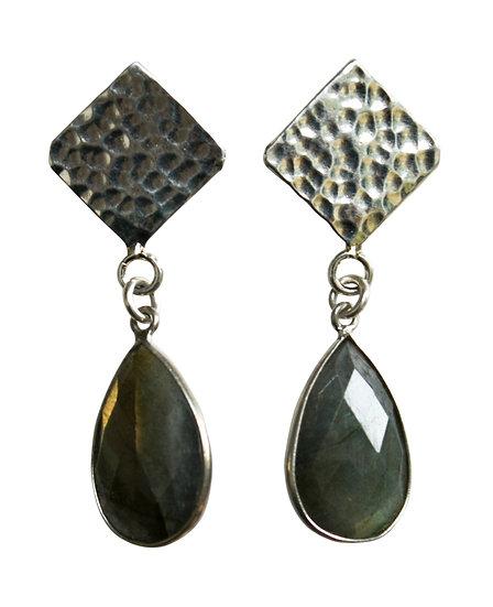 hand beaten sterling silver stud earrings
