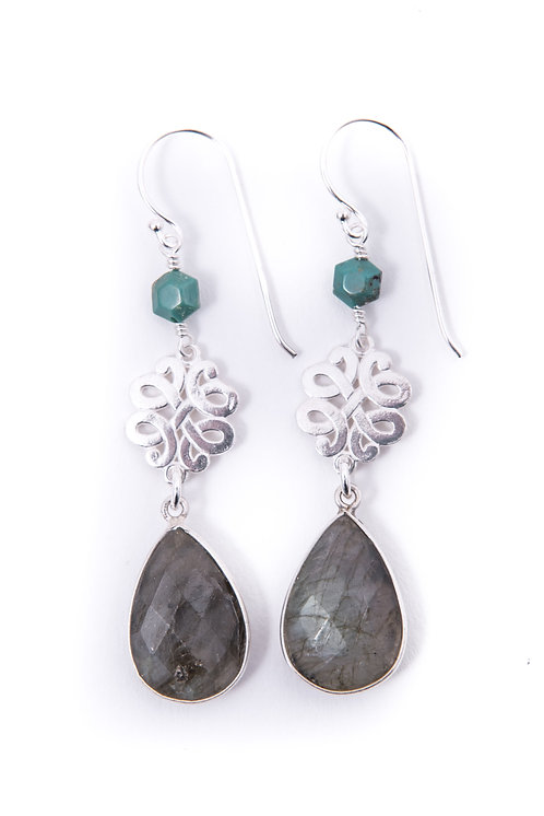 labradorite and turquoise drop earring