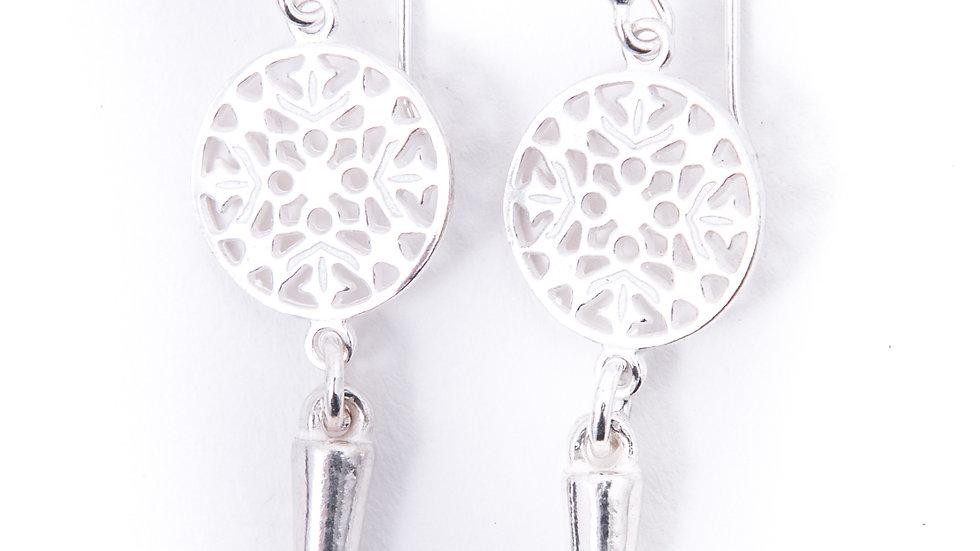 sterling silver mandala style point earrings