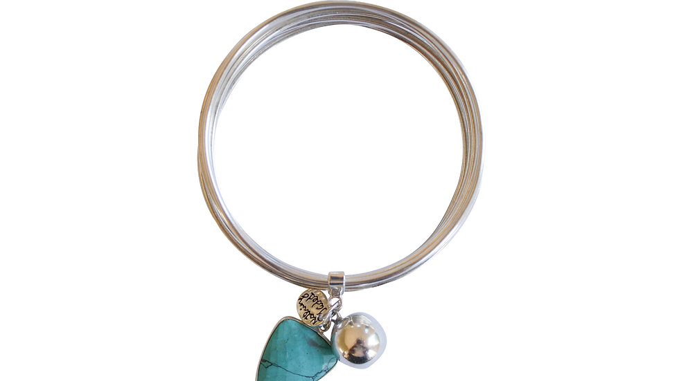 stacked sterling silver bangle with harmony ball