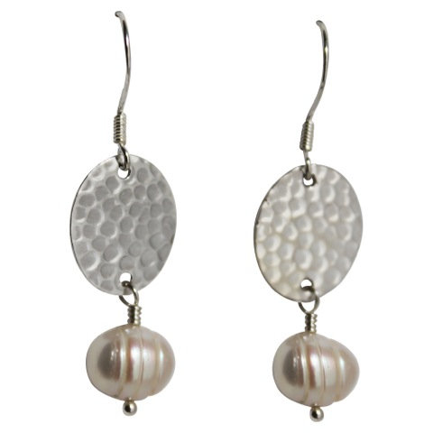 Oval Beaten Disc Earring