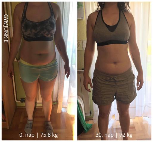 Johanna 1 hónap után: -4 kg zsír +4 kg önbizalom
