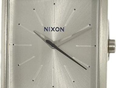 Nixon K squared watch silver/saddle gator