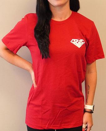 Red Short Sleeve T-Shirt -- White Diamond