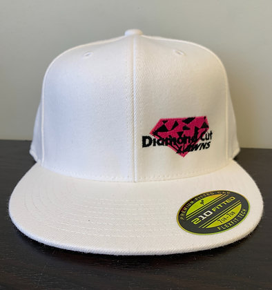 White Flat-Bill Fitted Ball Cap