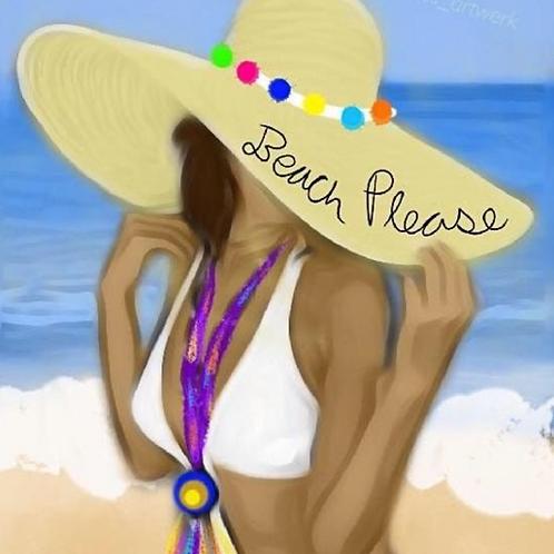 Beach Please Predrawn Canvas W/O Paint