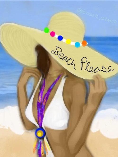 Beach Please Predrawn Canvas with Paint
