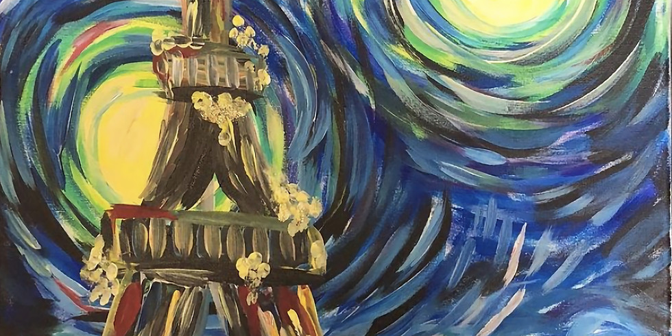 03/07 Starry Night At Paris Sip & Paint (In-Studio or Virtually)