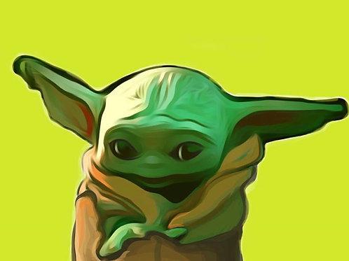 Baby Yoda Predrawn Canvas