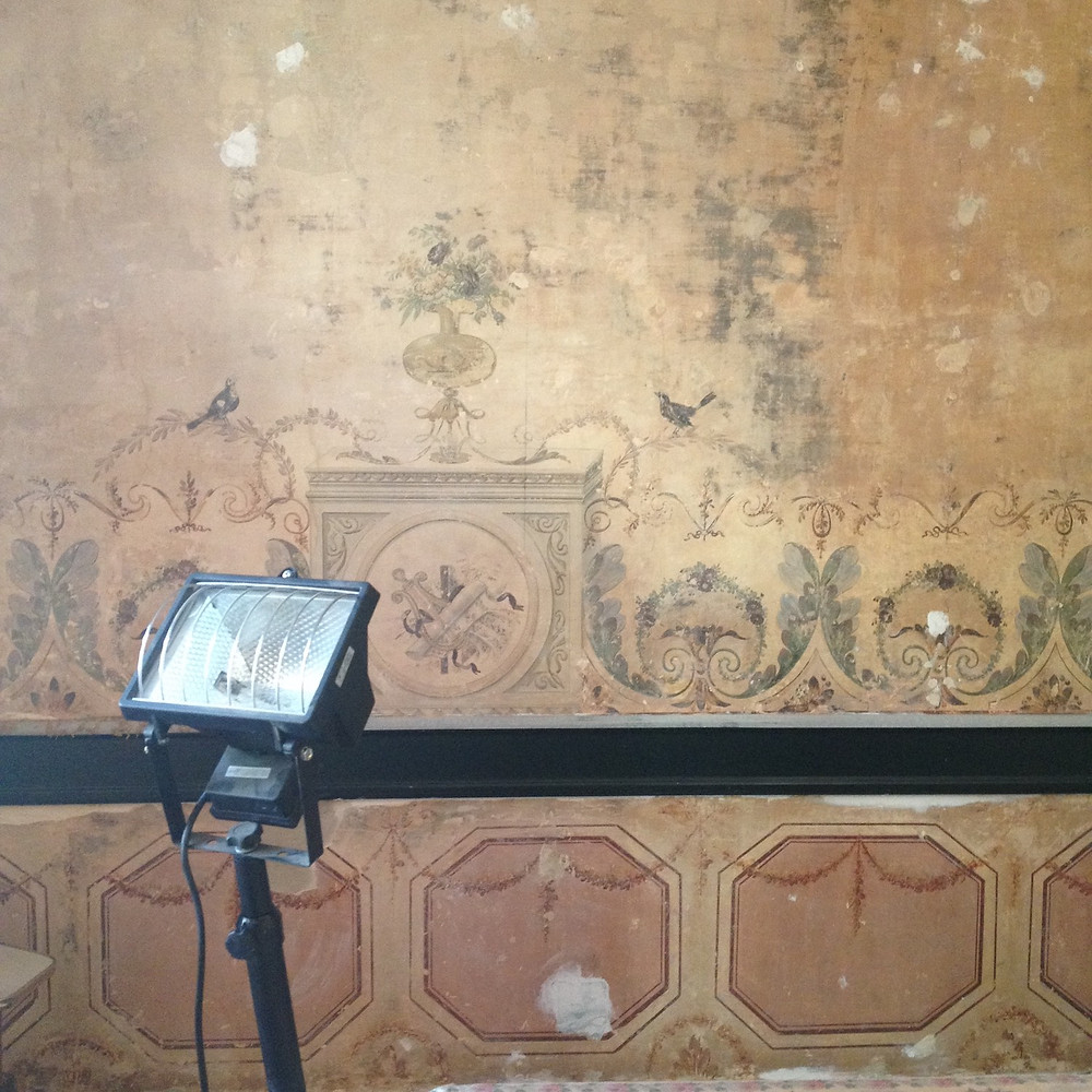 Restoration of 18th century frescos in our room in Lisbon