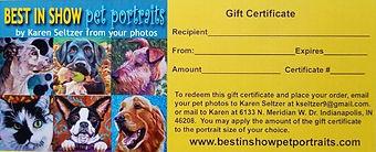 BEST IN SHOW Pet Portraits Gift Certificate