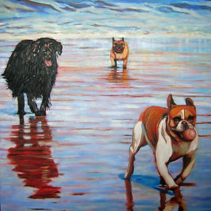 Oil painting of dogs playing on the beach.