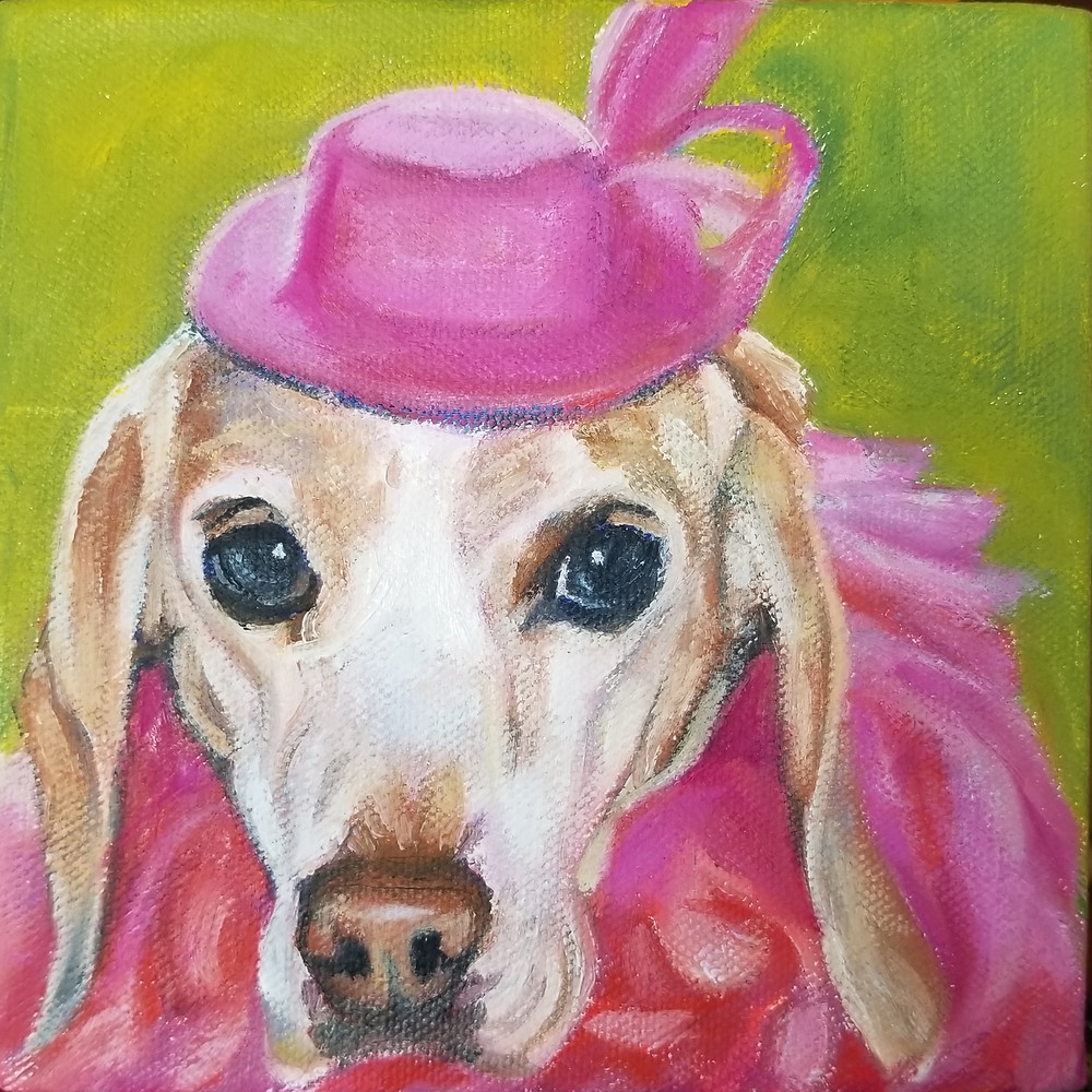 Anna in her pink boa and hat. 6 x 6 custom pet portrait in oil.