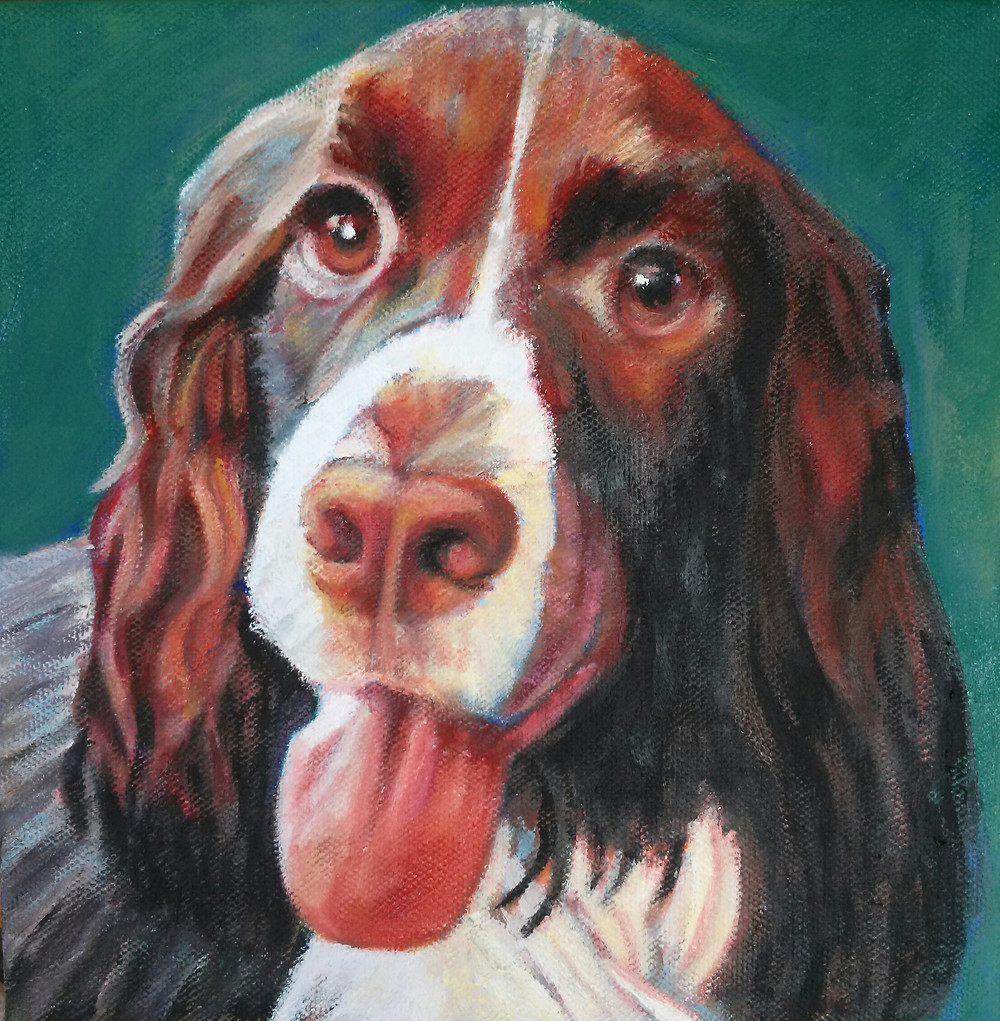"""Custom pet portrait of Adele.8"""" x 8"""" oil on canvas. One of 7 dogs that she has cared for and loved over the years."""
