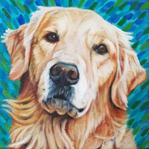 Pet portrait of Jackson, George's best buddy. Painted with oil on canvas.