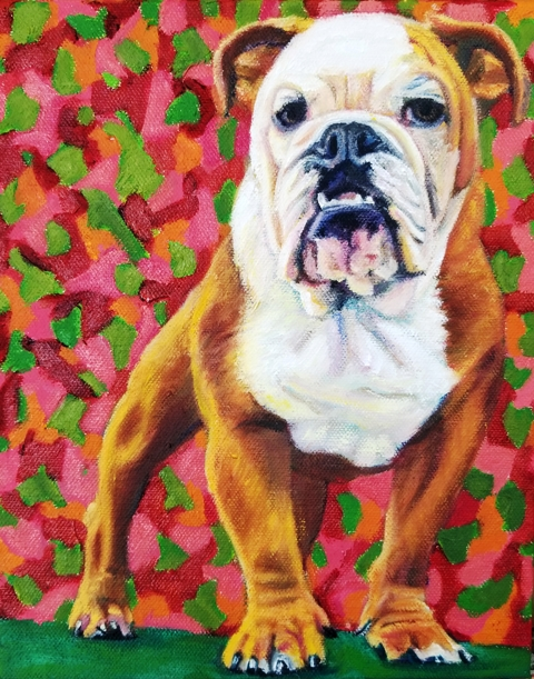 Pet Portrait of Moose, the Bulldog
