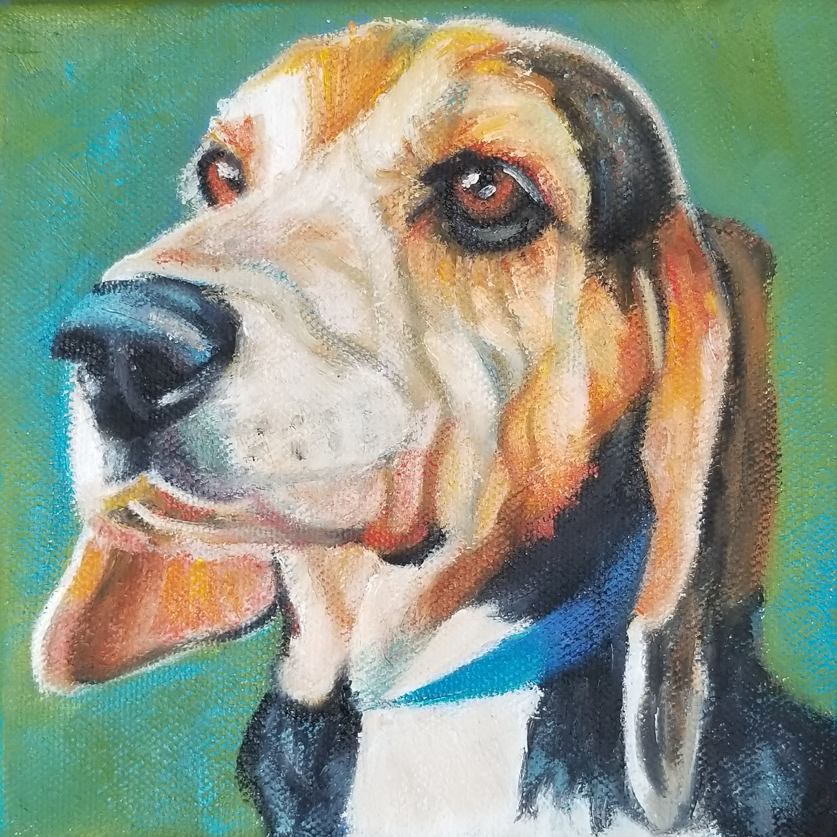 Custom portrait of Pops, the Beagle.