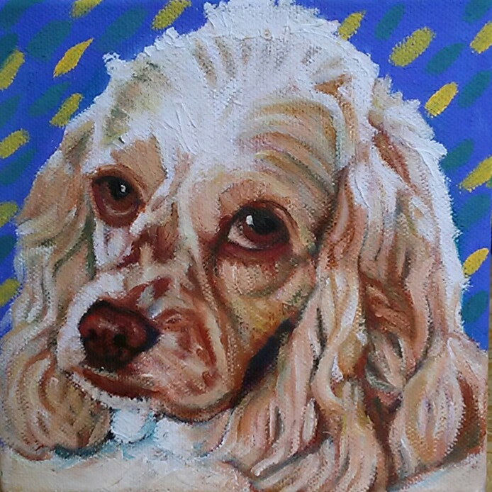 Custom pet portrait hand-painted in oil on canvas. Dolly. the Cocker Spaniel.