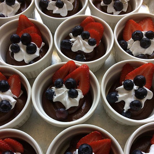 Avocado-Chocolate Mousse topped with Coconut Whipped Cream, Blueberries and Strawberry - vegan and gluten free