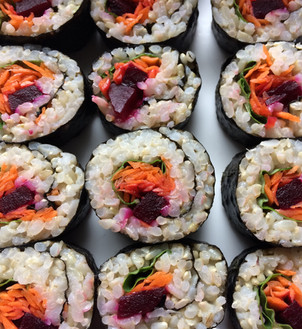 Maki Rolls with Pickled Beets, Grated Fresh Carrot and Fresh Basil