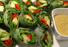 Avocado, Cucumber, Red Pepper, Leaf Lettuce Spring Rolls with Mango-Coconut Dipping Sauce